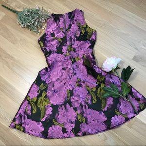 Ronni Nicole | Black Fuchsia Floral Cocktail Dress